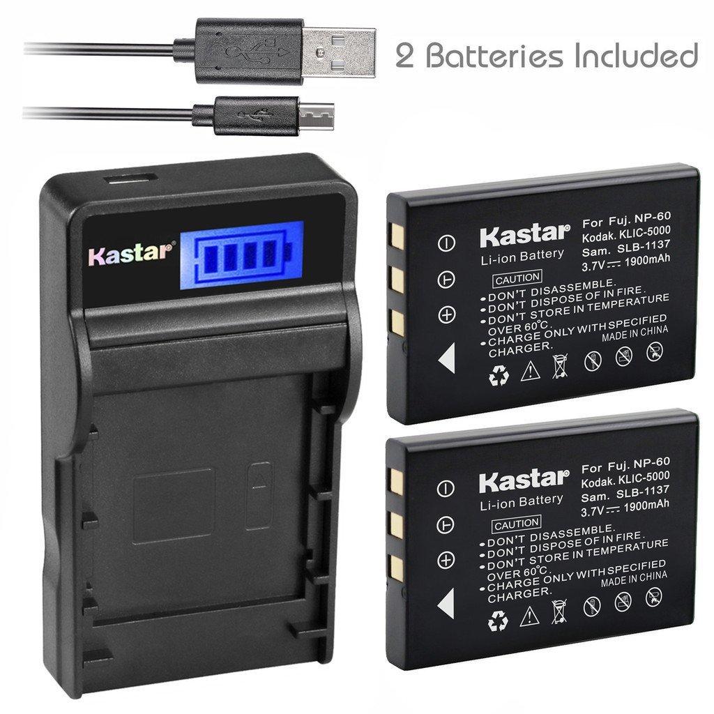 Kastar Battery (X2) & SLIM LCD Charger for Kodak KLIC-5000 K5000 & Kodak EasyShare DX6490 P850 P880 DX6490 EasyShare DX7630 DX7590 EasyShare Z760 Z7590 EasyShare DX7440 EasyShare Z730 DX7630 Z760