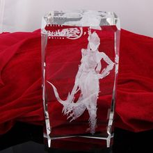 Clear 3D Engraving K9 Glass Square Laser Etched Crystal Block