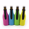 4mm Thick 330ml Blue Color Zipper Neoprene Beer Sleeve Glass Bottle Holder