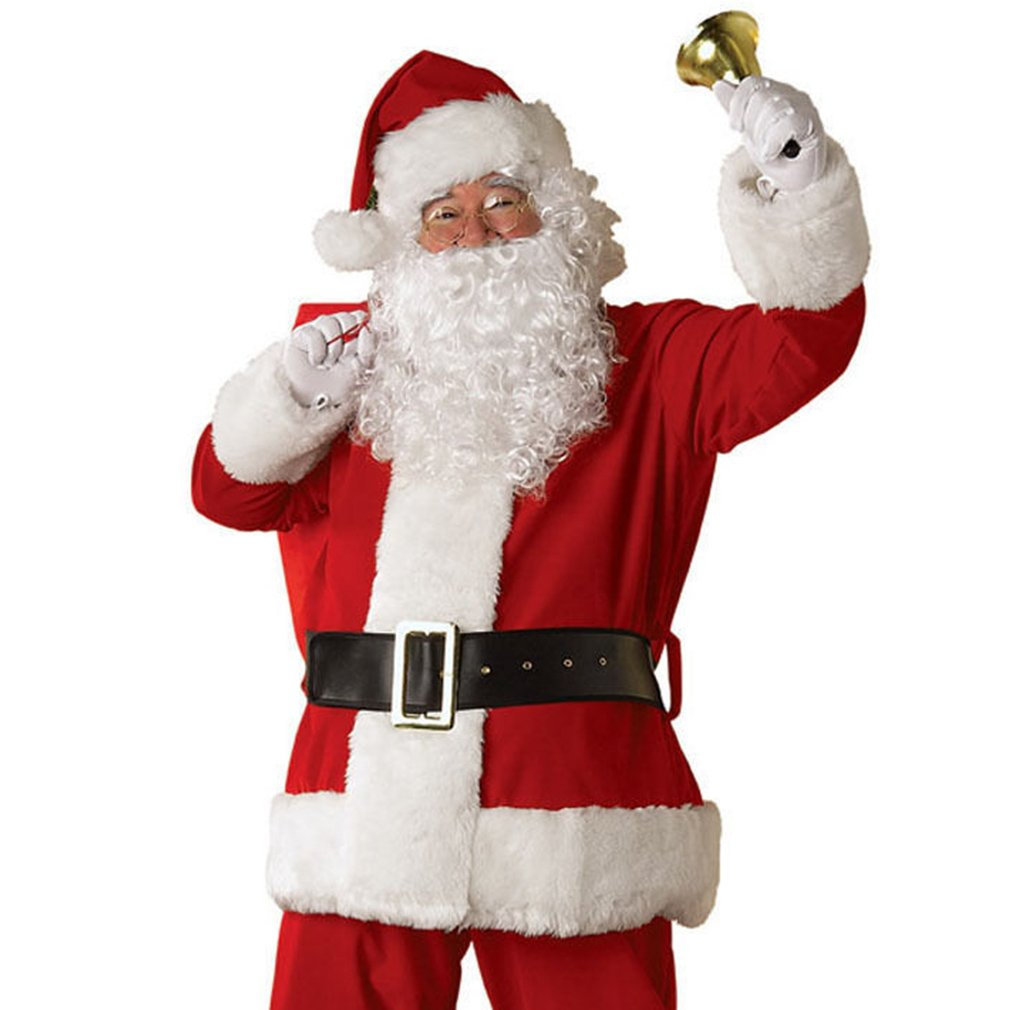 Father Christmas Wig and Beard Santa Claus and Beard Moustache Set Men's Pure White Curly Beard and Wig for Xmas Fancy Dress Costume Child and Adult Deluxe Synthetic Fiber