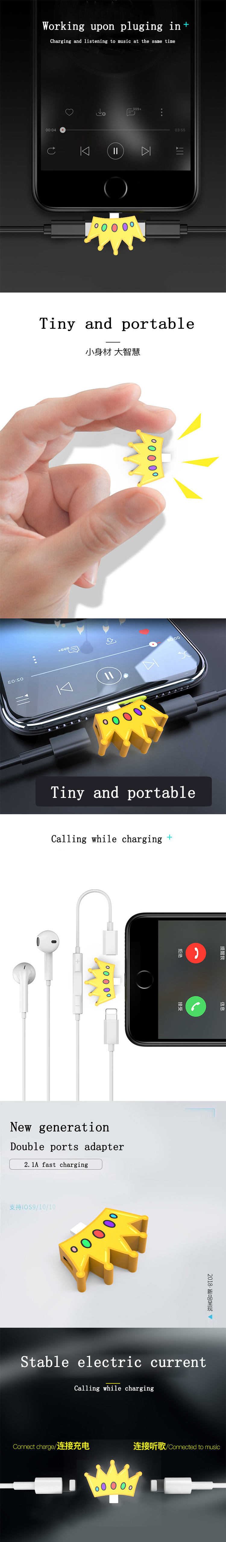 2018 new design charging and listening adapter  for iPhone Series