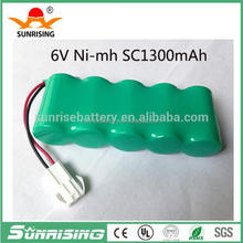 Sunrising nimh sc battery pack 6v /ni-mh sc 6v 1500mah for LED emergency light/tools battery,10C discharge