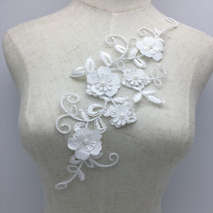 Hot sale professional white floral ivory beaded lace applique D312