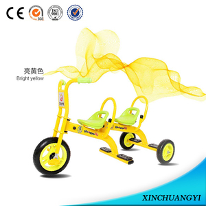 Hot sell pedal car children two seat 3 wheel tricycle