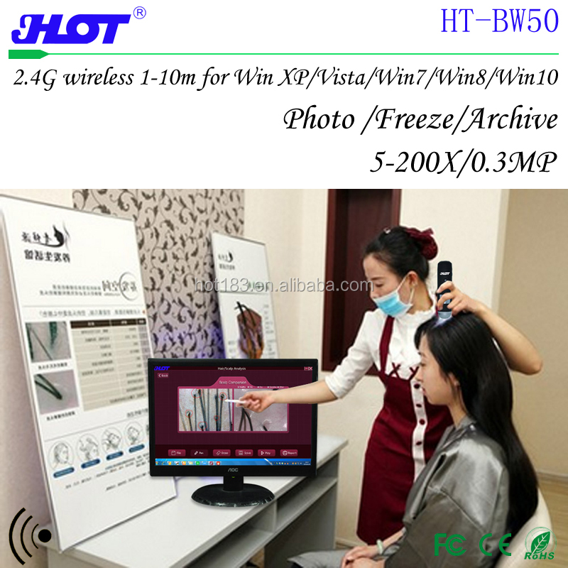 HOT HT-BW50 Hair scalp skin detector Scalp hair care treatments detecting pen 2.4G wireless digital microscope