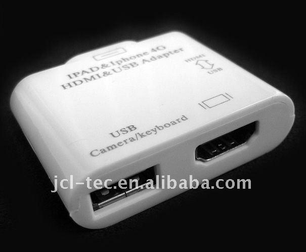 Hdmi Video Adapter Dock Usb For Ipad 2 Iphone 4 Ipod