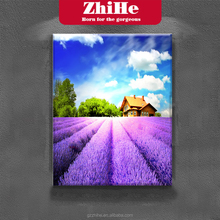Cheap Price Lavender Painting Purple Lavender Scenery Frameless Painting Art