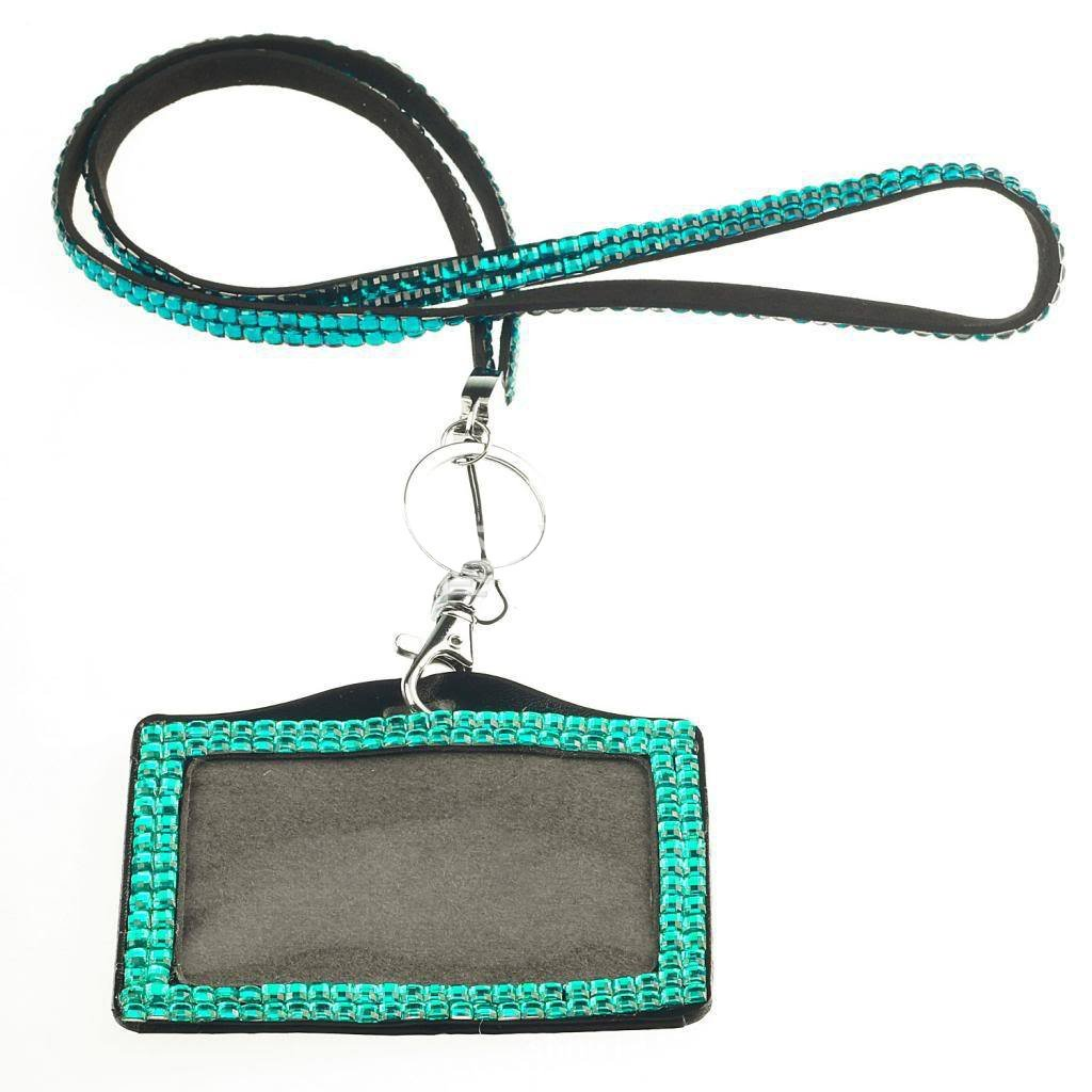 Card ID Badge Holder - TOOGOO(R) Horizontal Resin Rhinestone Work Card ID Case Holder Lanyard Sling (Lake Blue)