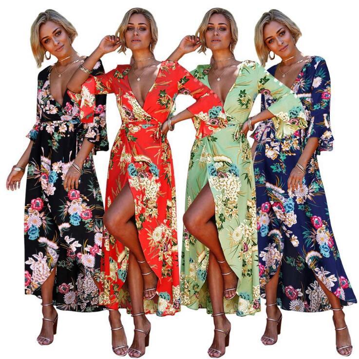 Women's <strong>Sexy</strong> Deep V Neck Backless Floral Print Split Maxi Party <strong>Dress</strong> A359