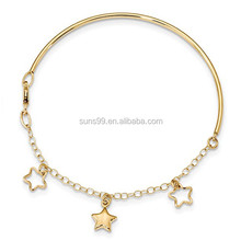 14 k Geel Goud Dangle Star Armband Chain Bangle 7 Inch Celestial Infant Gold Armband <span class=keywords><strong>Foto</strong></span>