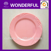 PS disposable plastic kitchenware pink plates and dishes