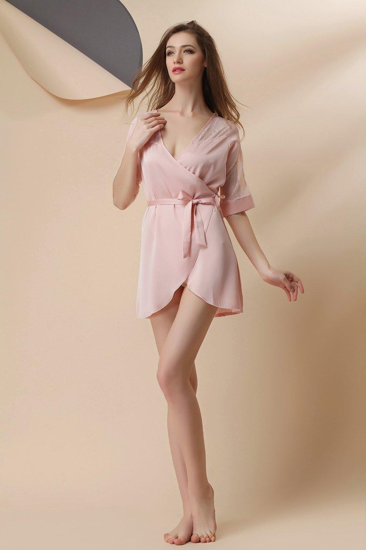 5d7aed87e8 Get Quotations · GL G Sleepwear Women s Silk Pajamas Comfortable Sleep  Skirt Sexy Lace chiffon Breathable Pink Bathrobe
