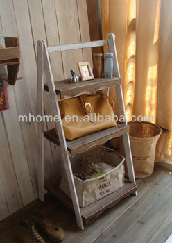 2016 Hot Selling Shabby Chic Wooden 3 Layers Flower Ladder Shelf