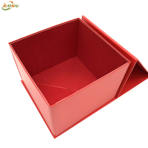 Red folding flat paper box luxury packaging gift bag