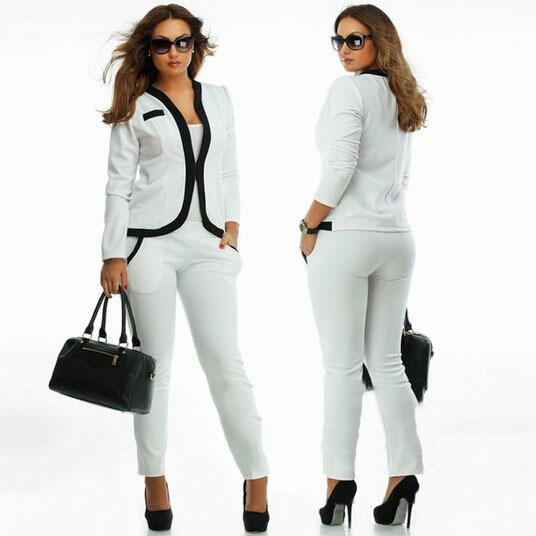 2015 2 шт. комплект осень офис леди работа костюм полный рукав блейзер сплошным цветом пакеты брюки костюм женщины работают форма Большой размер
