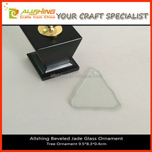 Wholesale Engraved Jade Blank Glass Beveled Oval Shape Christmas Tree Ornaments Glass Ornaments