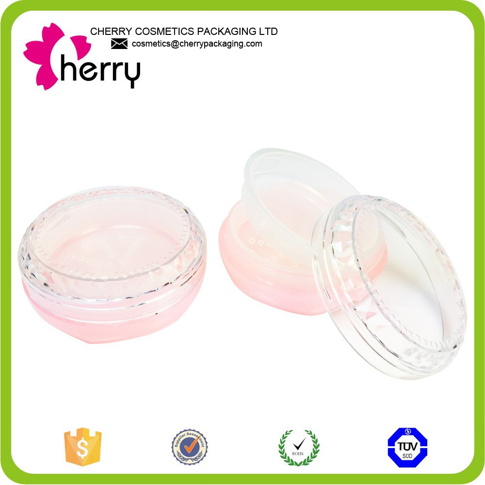 pink lovely empty plastic powder cosmetic case loose powder jar