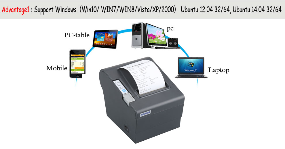 cheap bill receipt 80mm thermal printer with auto cutter support pos 80 printer thermal driver