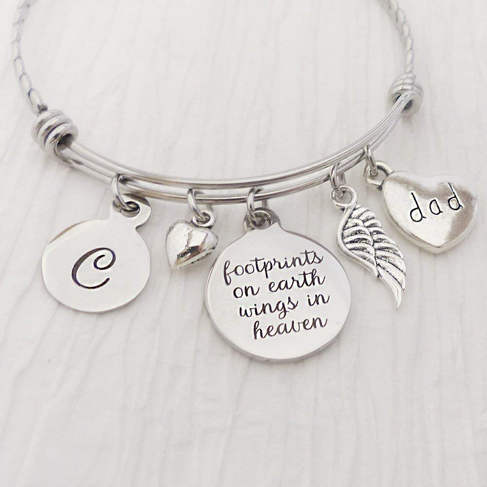 Memorial Jewelry, Loss of dad sympathy gifts-Footprints on earth wings in heaven Bangle Bracelet, Expandable Charm bracelet, Angel Wing Jewelry for Woman, Letter Charm, Remembrance