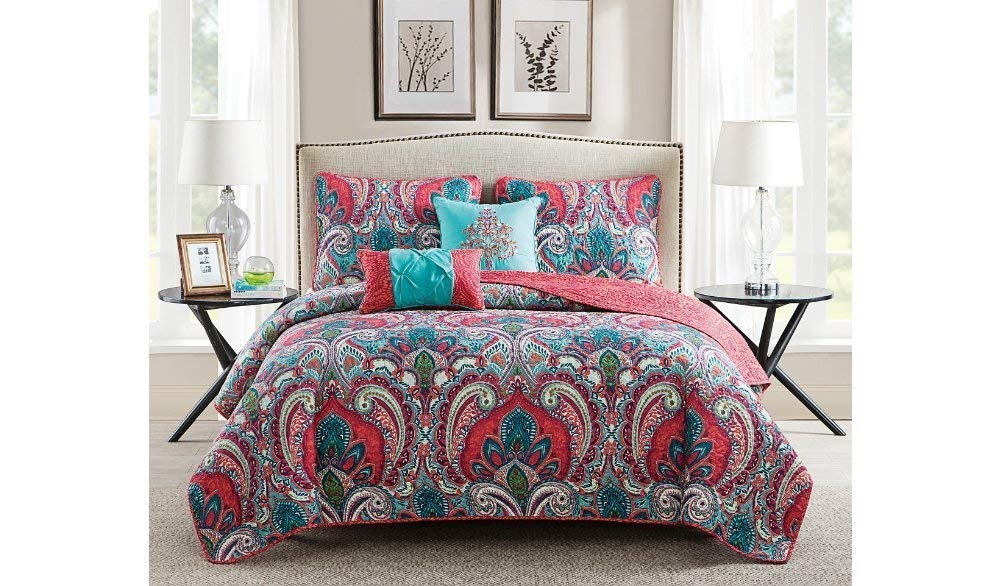 5pc Girls Paisley Themed Quilt King Set, Coral Pink Light Blue Leaf Green, Boho Chic Bohemian, Pretty Hippy Flower Medallion Stylish Bedding, Hippie Floral Pattern