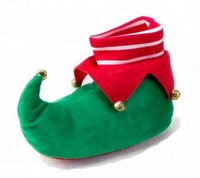 2018 Free Sample Plush Stuffed Elf slippers with bell/ green red mix winter indoor Christmas elf shoe