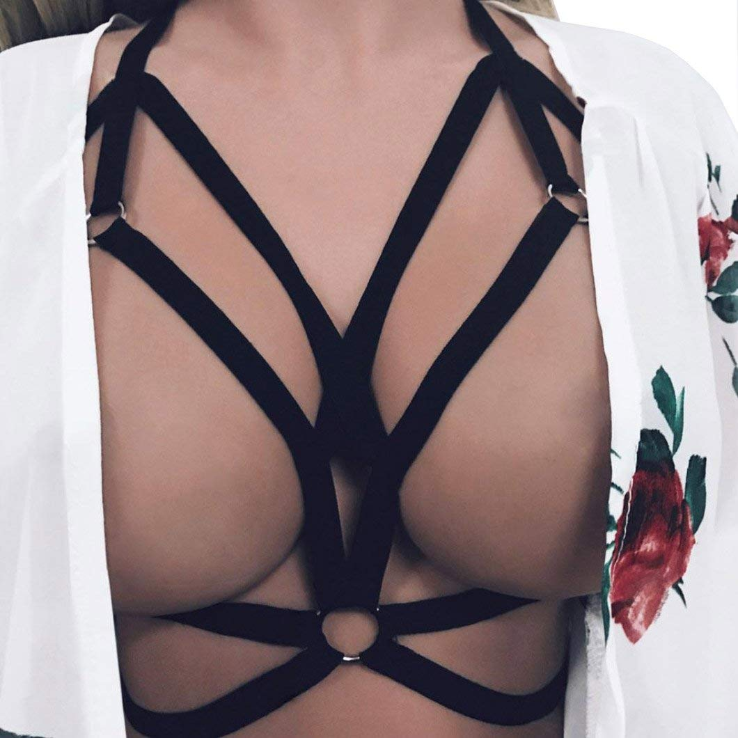 48178b1a3989e Get Quotations · Oucan Women Sexy Polyester Cupless Bandage Harness Bra  Hollow Out Bra