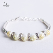 Retro folk style color ceramic silver Bracelet wedding jewelry Ceramic jewelry cool bead