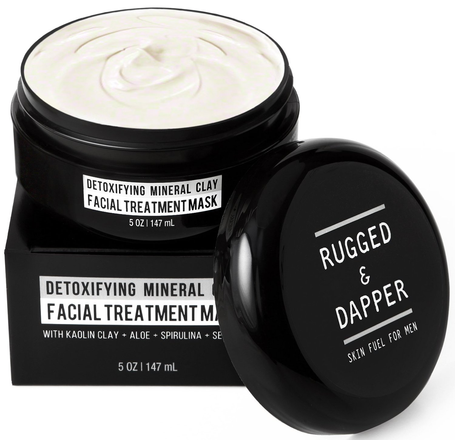 RUGGED & DAPPER - Face Mask for Men - 5 oz - Detoxifying Facial Treatment with Kaolin Clay & Aloe - Purifying & Deep Cleansing Formula Helps with Blackheads & Acne – Natural & Organic Ingredients