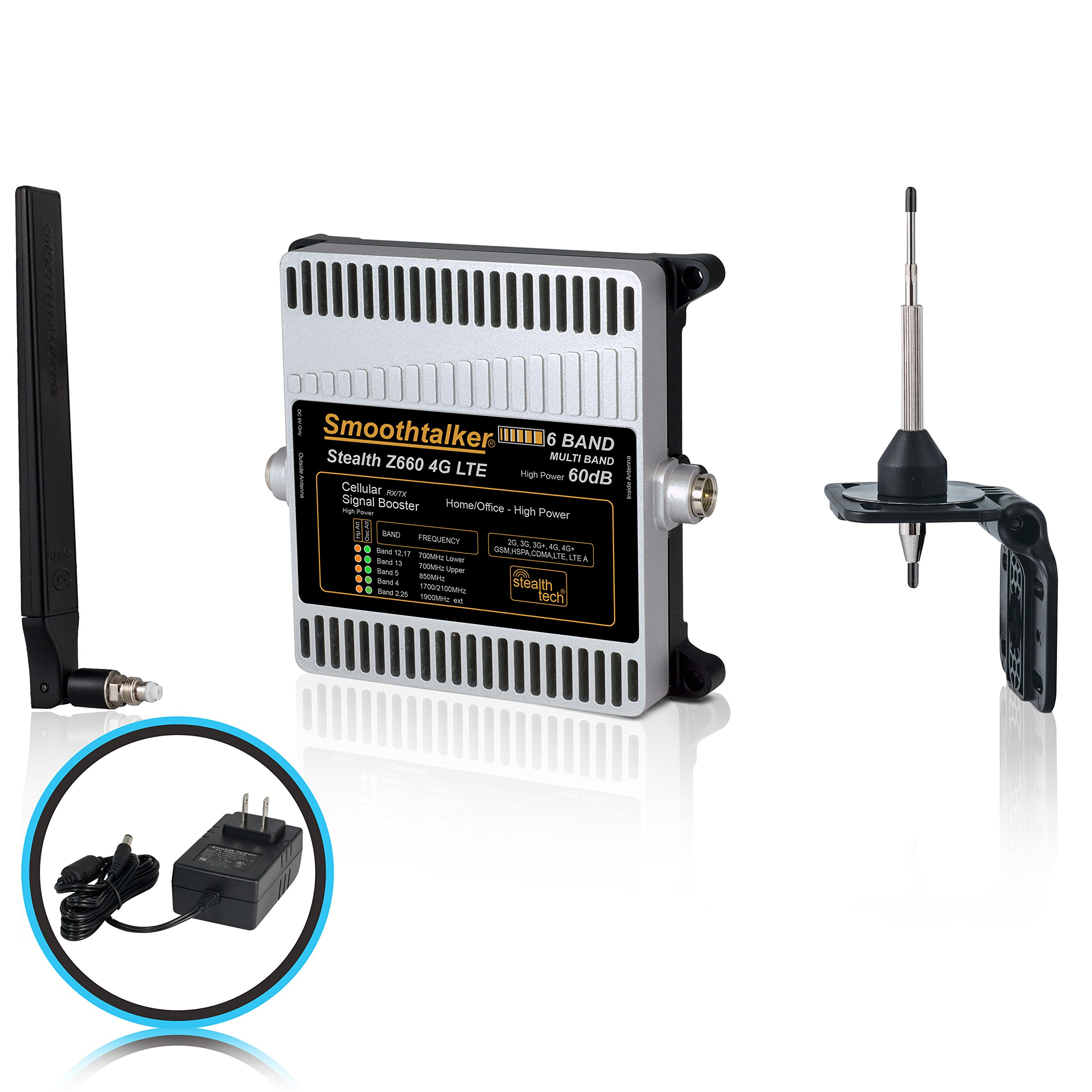 Smoothtalker Stealth Z6 60dB 4G LTE High Power 6 Band Cellular Signal Booster Kit. Covers up to 3500 sq. ft.