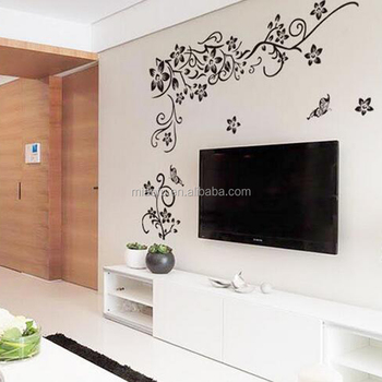 Removable Living Room 3D PVC Black Beautiful Wall Sticker Decor