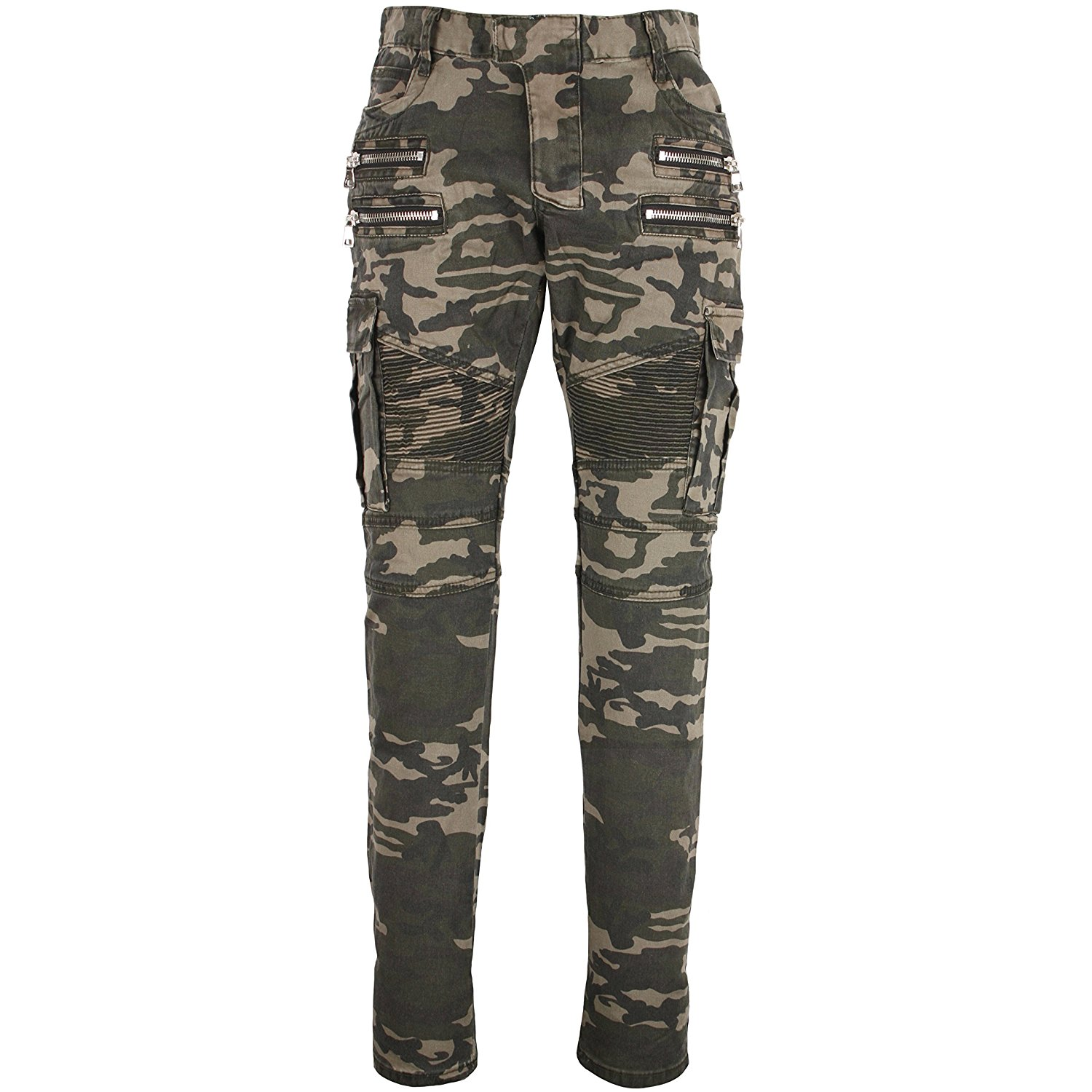 eaa39fd9167 Get Quotations · T583 Camoflage Zipper Biker Military Washing Denim Jeans  Punk Army 38~46 Plus Size Long