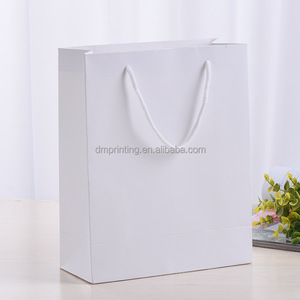 White paper bag design template with PP rope