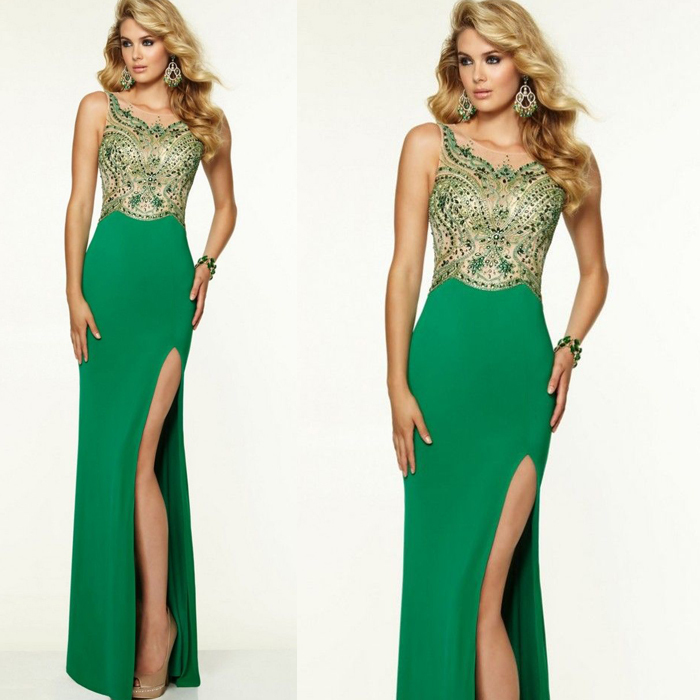 2015 Mint Green Luxury Prom Dress With Crystal Cap Sleeve Long Beaded Stunning Girl Dress To Party Over vestidos de fiesta