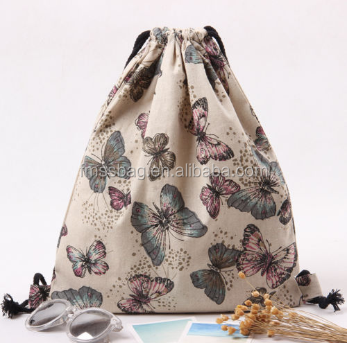 Wholesale Custom Full Printed Colorful Canvas Drawstring Backpack Bags For Children