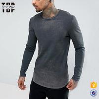 Dongguan clothing manufacturer vintage style long sleeve curved hem oil wash men s t shirts