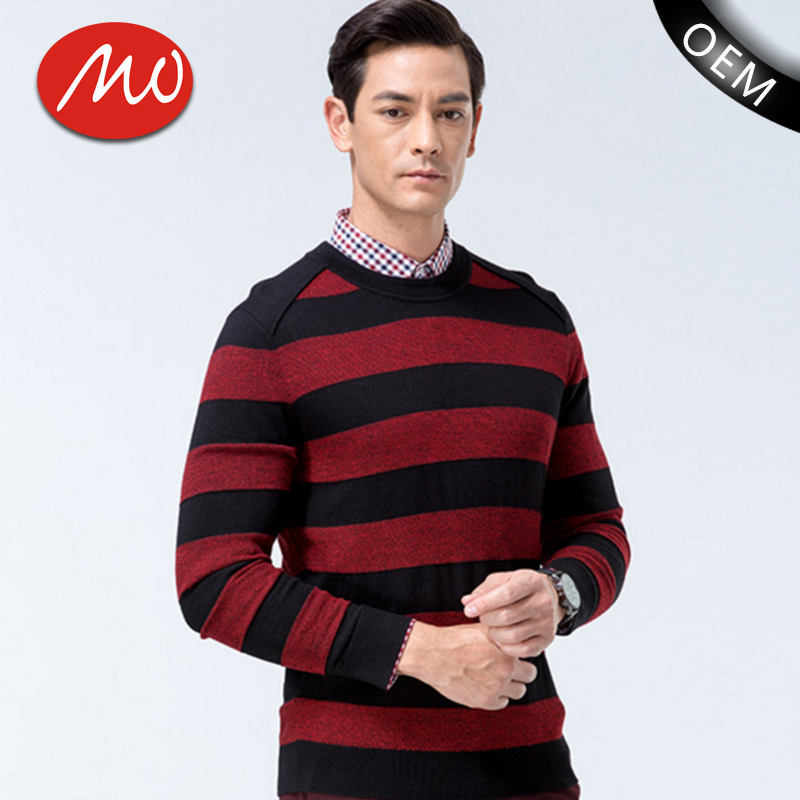 Men crew neck lowes 50% acrylic 50% wool red black striped sweater with high quality