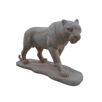 Garden Ornament Stone Carving Products Life Size Leopard Statue