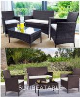 RATTAN GARDEN FURNITURE SOFA TABLE CHAIRS SET PATIO CONSERVATORY OUTDOOR WICKER