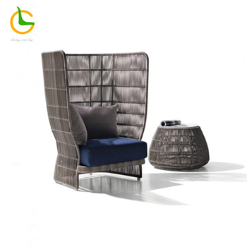 Outdoor furniture patio sets very nice single high back sofa with Tea table garden wicker sofa