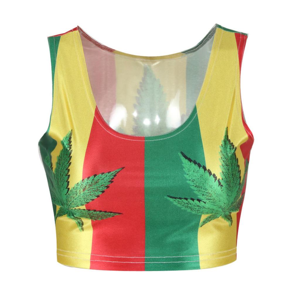 51bb94844c65 Get Quotations · hot selling new Women t-shirt hemp fimble leaf Print Crop  top Fashion saxy brand