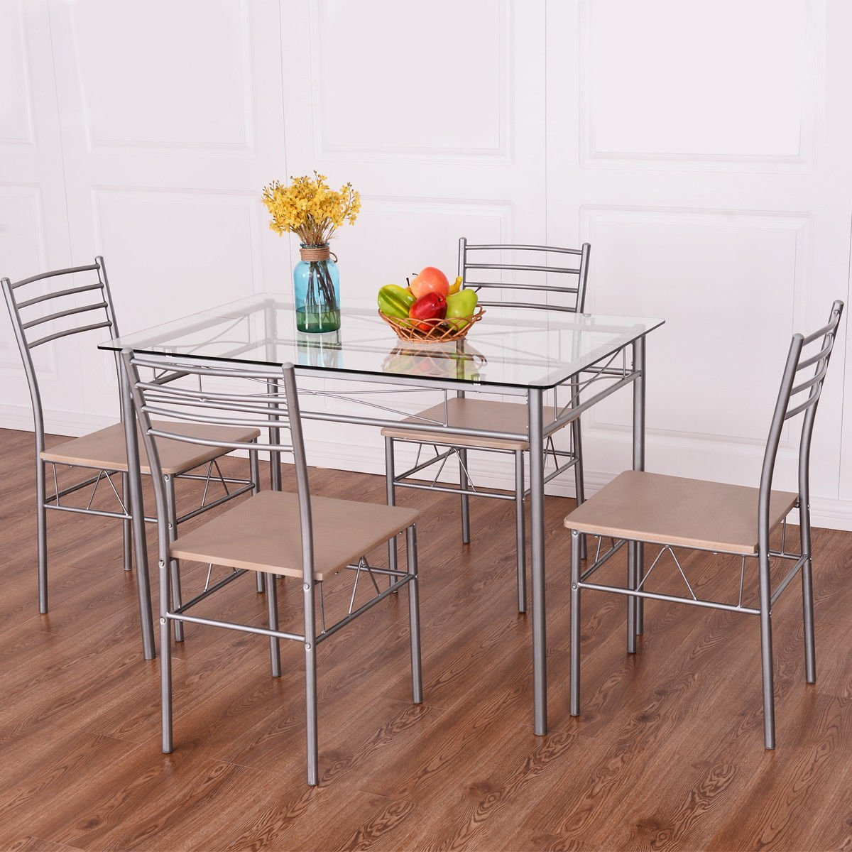 5 Piece Dining Set Table And 4 Chairs Glass Top Kitchen Breakfast Furniture, Sturdy Tempered Glass and Premium Steel Construction, Last for Years to Come , Clear Glass Top, Adding a Modern Style