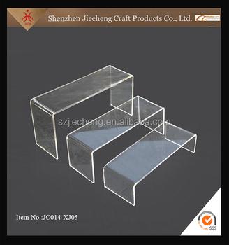 Free Sample Clear Acrylic Shoe Shelf Stair Step Display