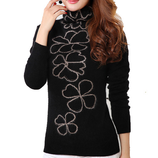Knitted Mink Cashmere Women Sweater Solid Black Turtleneck Women Casual Women Pullovers New 2015 Fashion Pull Femme