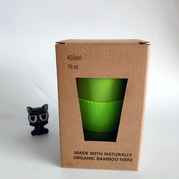 wholesale bamboo reusable water cup in kraft box packing
