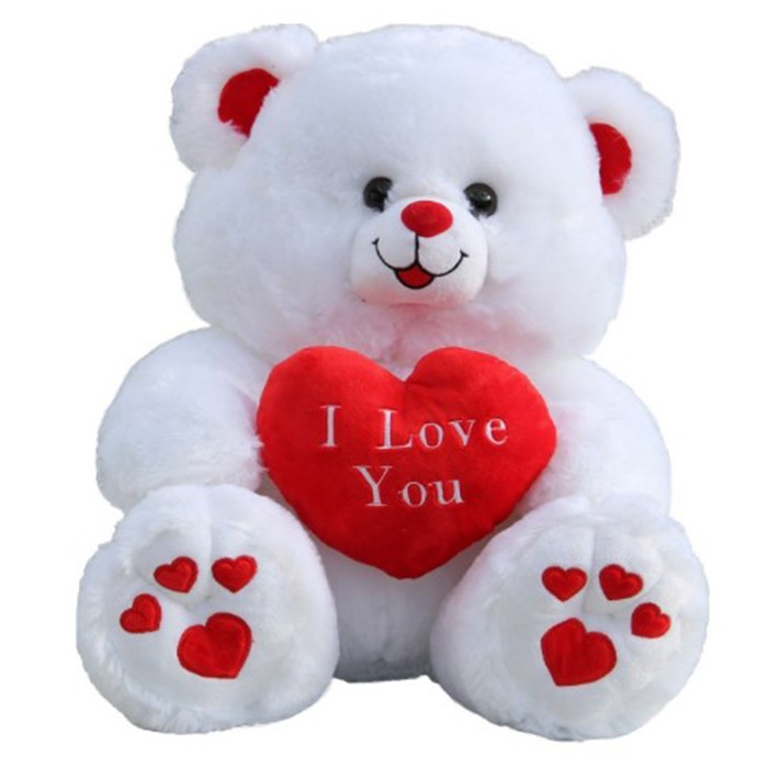 Valentine's Day White Plush Teddy Bear I Love You Stuffed