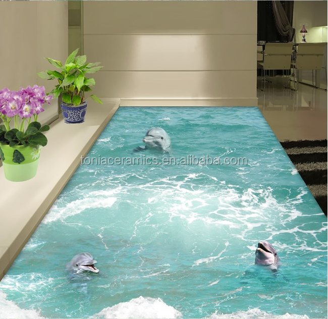 3d Floor Tile Ocean Blue Swimming Pool Tile With Dolphin