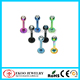 Stainless Steel Titanium Anodized Labret Lip Ring with Crystal Ball Body Piercing Jewelry