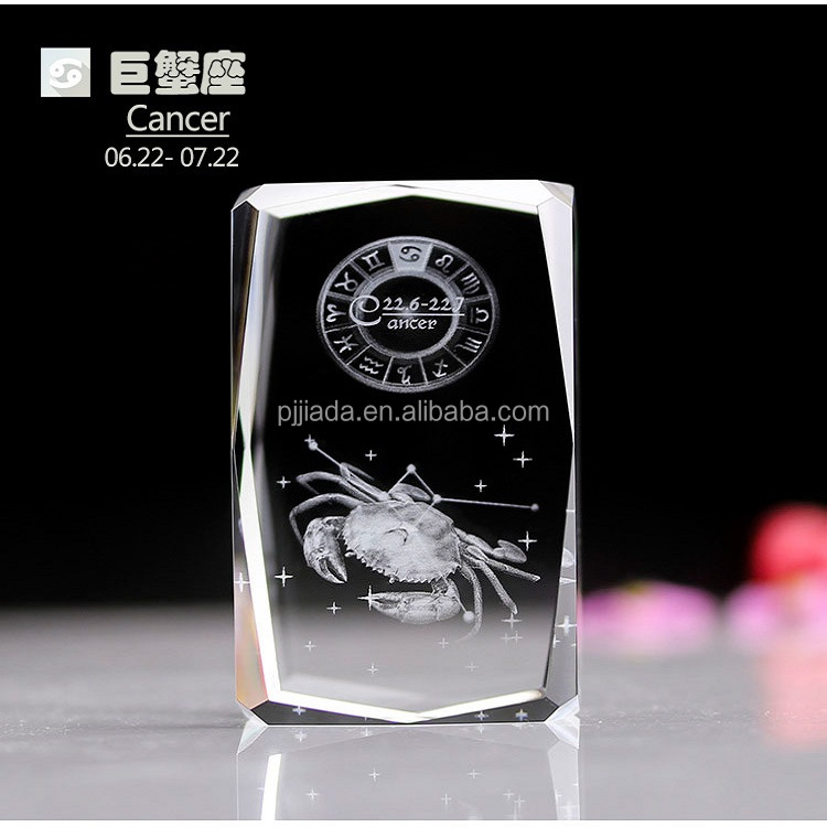 birthday gift Chinese Zodiac 3d laser engraved crystal glass cube