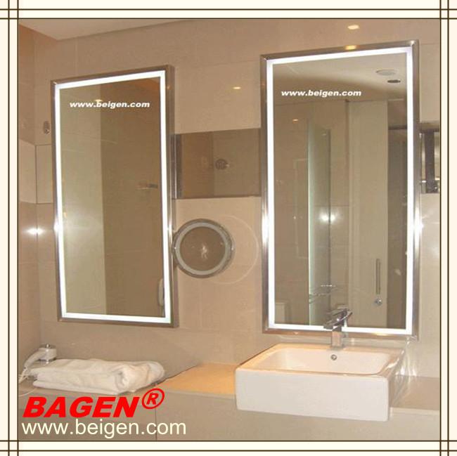 Enmarcado espejo con luces led para hotel ba o 16 a os de - Luces espejo bano ...
