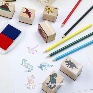 Toy stamp kids wooden stamp set dinosaur design wood rubber stamp with color pencil and ink pad